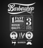 Illustration of a vintage graphic element for barbershop on blackboard — Stock Vector