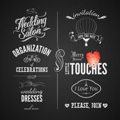 Set of wedding vintage typographic design elements on blackboard — Stock Vector