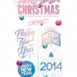 Merry Christmas and Happy New Year design — Imagens vectoriais em stock