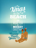 Merry Christmas & Happy New Year poster with a tanned young people — Vettoriale Stock