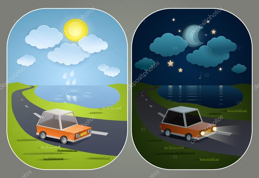 Пейзажи днем и ночью
