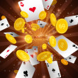 Stock vektor: Casino abstract background with flying playing cards & money
