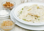 Boiled dumplings, vareniki — Stock Photo