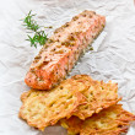 Restaurant dish,fried salmon — Stock Photo #28496233