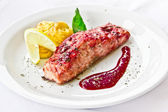 Restaurant dish,fried salmon — Stock Photo