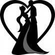 Clipart Illustration of Silhouetted Bride and Groom Dancing — Stock Photo #25028251