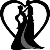 Clipart Illustration of a Silhouetted Bride and Groom Dancing — Stock Photo