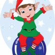 Clipart Illustration of Christmas Elf Sitting on Ornament w — Stock Photo #39918435