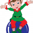 Clipart Illustration of Christmas Elf Sitting on Ornament — Stock Photo #39918437