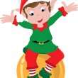 Clipart Illustration of Christmas Elf Sitting on Ornament — Stock Photo #39918443