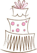 Clipart Illustration of a Stylized Pink and Brown Layer Cake — Stock Photo