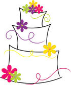 Clipart Illustration of a Crooked Layer Cake with Bright Flowers — Stock Photo