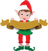 Clipart Illustration of a Christmas Elf Holding a Banner — Stock Photo