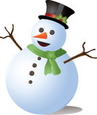 Clipart Illustration of a Vector Snowman Wearing a Hat and Scarf — Stock Photo