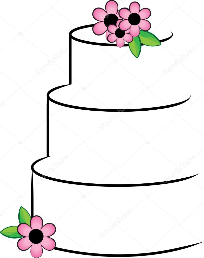 Clipart Illustration of a Stylized Layer Cake with Flowers ...
