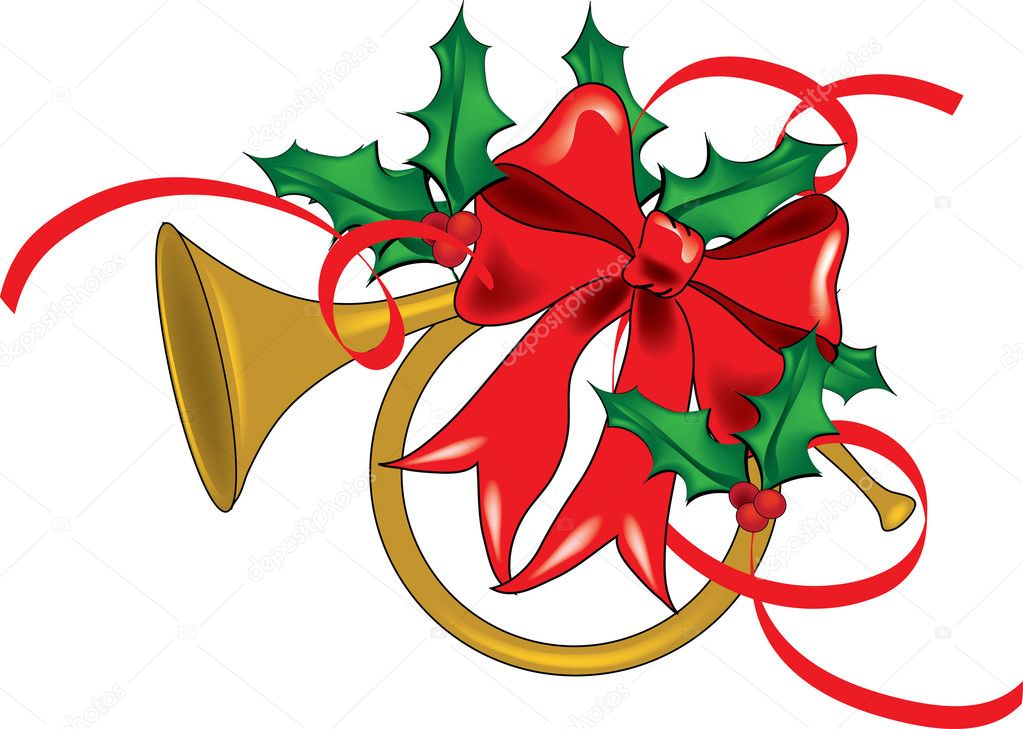 ... Illustration of a French Horn Decorated for Christmas - Stock Image