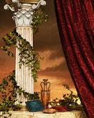 Nature morte avec rideau et colonne — Photo