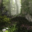 Misty Forest, 3d Computer Graphics — 图库照片