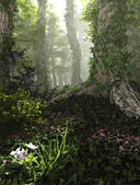 Misty Forest, 3d Computer Graphics — Stock Photo