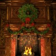 Fireplace decorated for Christmas — Stock Photo