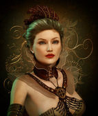 Steampunk Fashion Lady 3d CG — Stock Photo