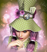Portrait with dotted Hat 3d CG — Stock Photo