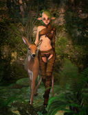 Biba and Fawn 3d CG — Stock Photo