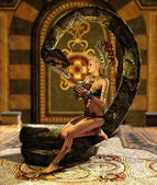 The Snake Enchantress 3d CG — Stock Photo