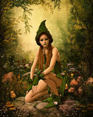Green Forest Elf, 3d CG — Stock Photo