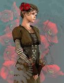 红罂粟女孩,三维 cg — 图库照片