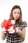 Happy woman and gift box — Stock Photo