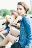 Young model in jeans jacket — Stock Photo