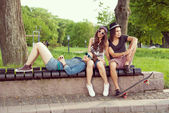 Sitting On Park Bench — Stock Photo