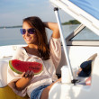 Attractive young girl on a yacht — Stock Photo #28598049