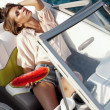 Attractive young girl on a yacht — Stock Photo #28598057