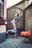 Female roller skater — Stock Photo