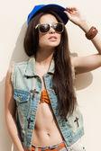 Woman in summer cap — Stock Photo