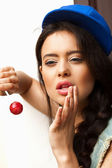 Naughty funky girl sucking lollipop — Stock Photo