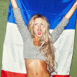 Woman with french flag — Stock Photo