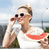 Woman takes watermelon. Concept of healthy and dieting food — Stock Photo