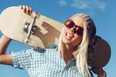 Happy skater girl — Stock Photo