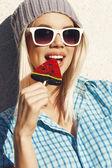 Sweet girl sucking lollipop — Foto de Stock