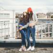 Two young hipster girl friends — Stock Photo #38250499