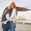 Two young hipster girl friends — Stock Photo #38250651