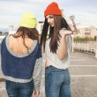 Two young hipster girl friends — Stock Photo #38250667