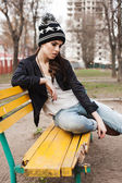 Fashionable stylish girl in black leather jacket — Stock Photo