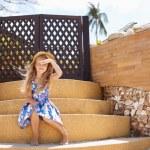 Adorable little girl at tropical  beach — Stock Photo #43292705