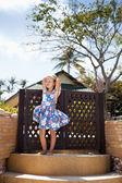 Adorable little girl at tropical  beach — Stock Photo