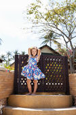 Adorable little girl at tropical  beach — Foto Stock