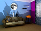 Halloween child room — Stock Photo